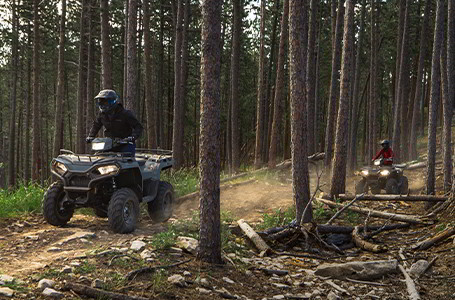Two Polaris Sportsman vehicles in the woods