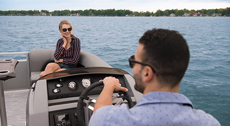 Pic of person piloting boat