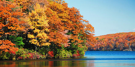 Fall boating scene