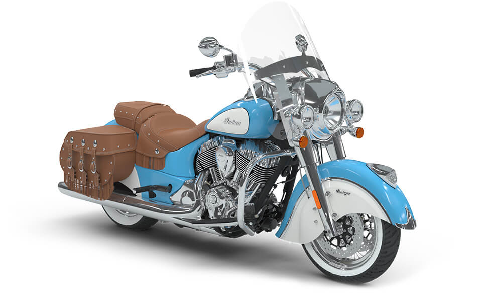 Indian Chief Vintage Sky Blue over Pearl White