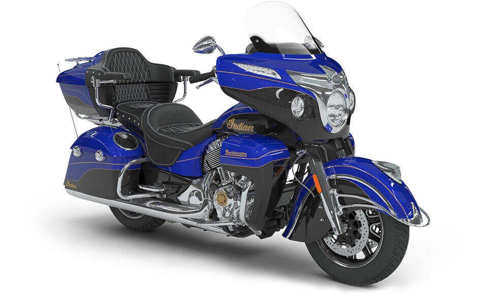 Indian Roadmaster Elite Cobalt Candy over Black Crystal with 23k Gold Trim