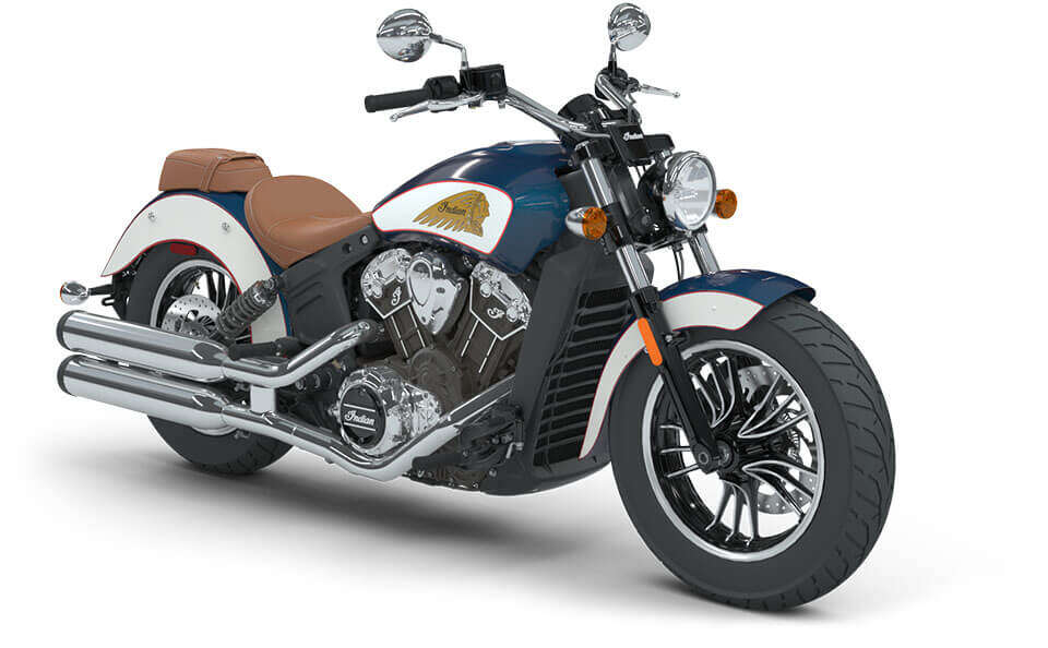 Indian Scout Brilliant Blue over White with Red Pinstripe