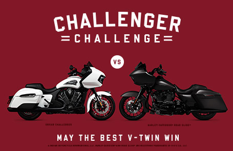 "Indian Motorcycle Draws A Line In The Sand With ""Challenger Challenge"" – A Head-To-Head Comparison Of The New Indian Challenger Dark Horse & Harley-Davidson® Road Glide® Special"