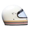 Full Face Retro Helmet with Stripes, White - Image 2 of 8