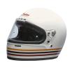 Full Face Retro Helmet with Stripes, White - Image 1 of 8