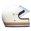 Full Face Retro Helmet with Stripes, White - Image 5 of 8