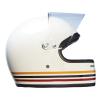 Full Face Retro Helmet with Stripes, White - Image 6 of 8