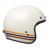 Open Face Retro Helmet with Stripes, White - Image 3 of 7