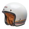 Open Face Retro Helmet with Stripes, White - Image 2 of 7