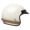 Open Face Retro Helmet with Stripes, White - Image 6 of 7