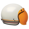 Open Face Retro Helmet with Stripes, White - Image 7 of 7