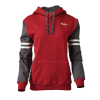 Women's Pullover Hoodie Sweatshirt with Contrast Sleeve, Gray/Red - Image 1 of 2