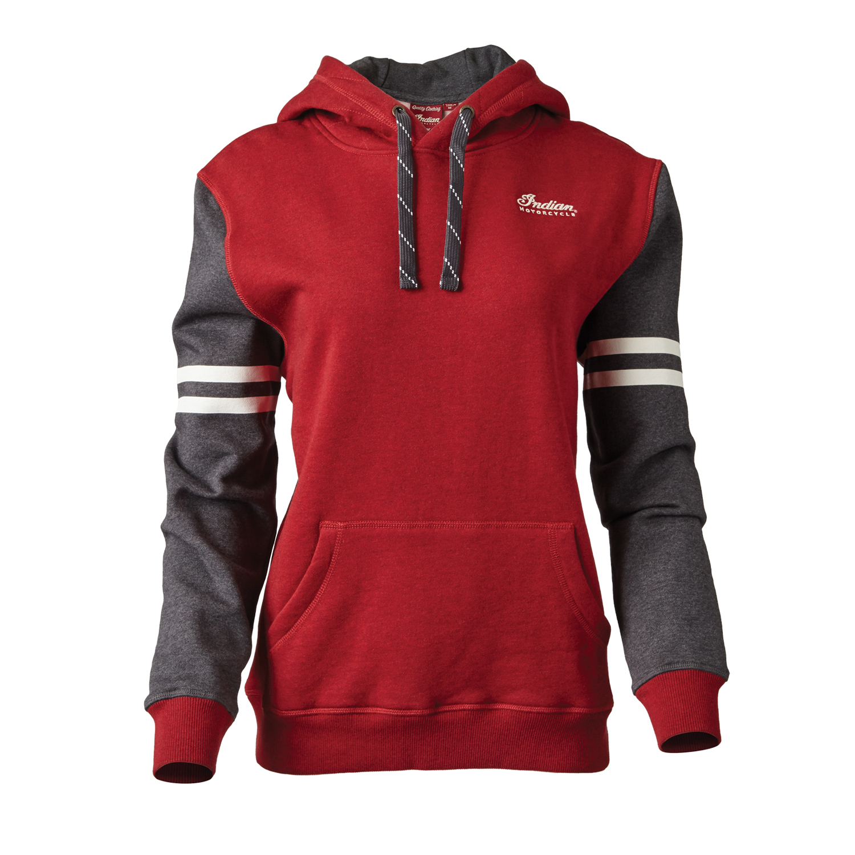 Women's Pullover Hoodie Sweatshirt with Contrast Sleeve, Gray/Red