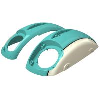 PowerBand Audio Classic Saddlebag Speaker Lids - Coastal Green over Ivory Cream with Black Pinstripes