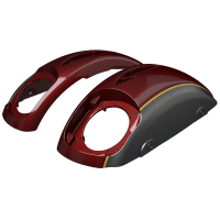 PowerBand Audio Classic Saddlebag Speaker Lids - Burgundy Metallic over Titanium Metallic