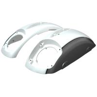 PowerBand Audio Classic Saddlebag Speaker Lids - Pearl White over Titanium Metallic with Black Pinstripes