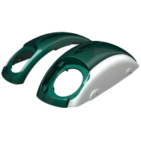 PowerBand Audio Classic Saddlebag Speaker Lids - Metallic Jade over Pearl White