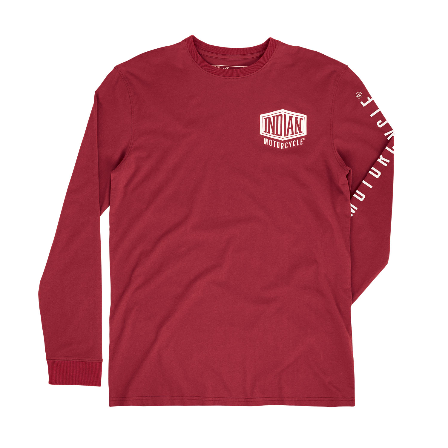 Men's Long-Sleeve T-Shirt with Shield Logo, Red