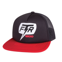 1200 Bolt Flatbill Trucker Hat, Black/Red
