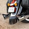 Genuine Leather Rear Mud Flap with Fringe, Black - Image 2 de 2