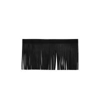Genuine Leather Upper Saddlebag Fringe - Black