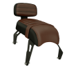 Genuine Leather Passenger Seat with Sissy Bar, Brown - Image 1 de 4