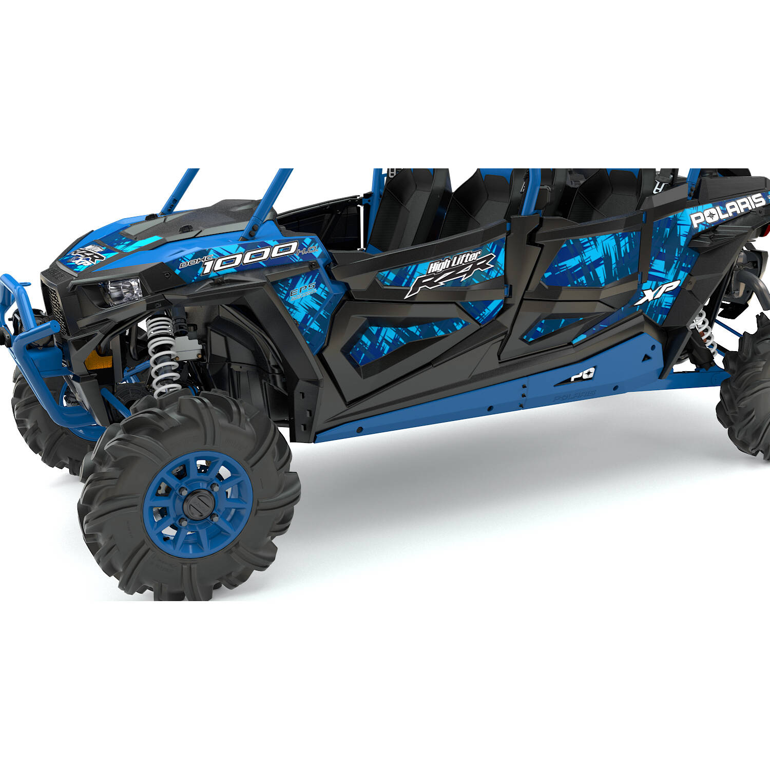 4 Seater Low Profile Rock Sliders Velocity Blue Polaris Rzr