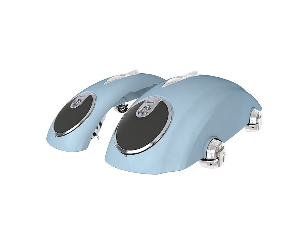 Concert Saddlebag Audio Lids in Blue Diamond, Pair
