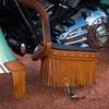 Garniture de plancher en cuir véritable avec franges et crampons, paire - Image 2 de 4