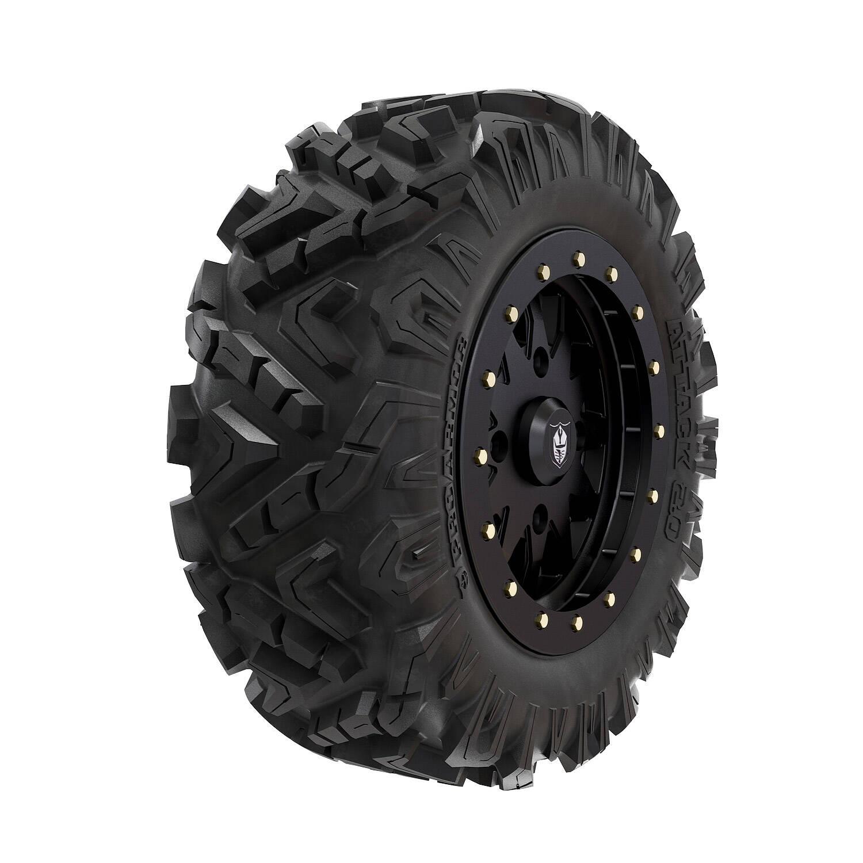 """Pro Armor® Wheel & Tire Set: Halo - Matte Black & Attack 2.0 - 28"""""""