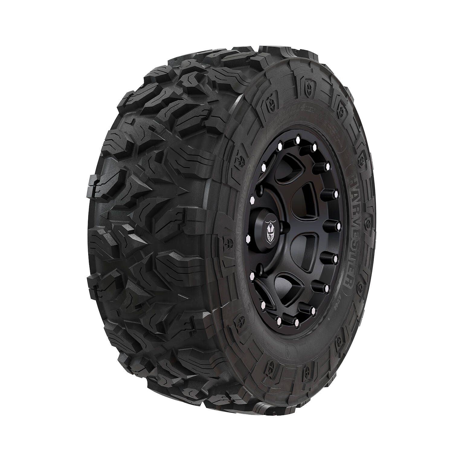 Wheel & Tire Set: Pro Armor Harvester® & Shackle - Matte Black - 28""