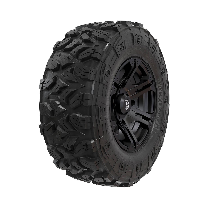 "Wheel & Tire Set: Pro Armor Harvester® & SIXR - Matte Black - 28"""