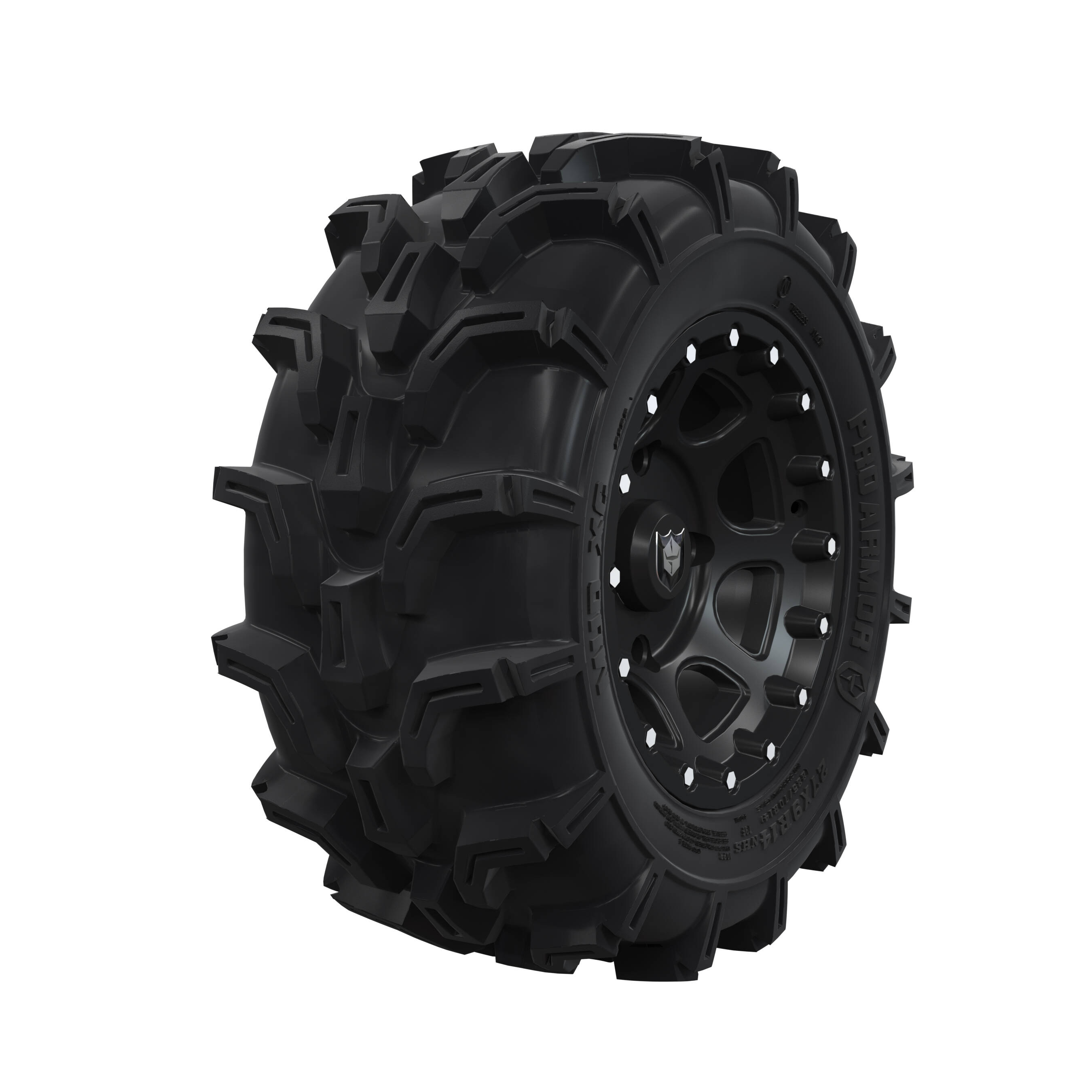 "Pro Amor® Wheel & Tire Set: Mud XC - Shackle - Matte Black - 27""R14"