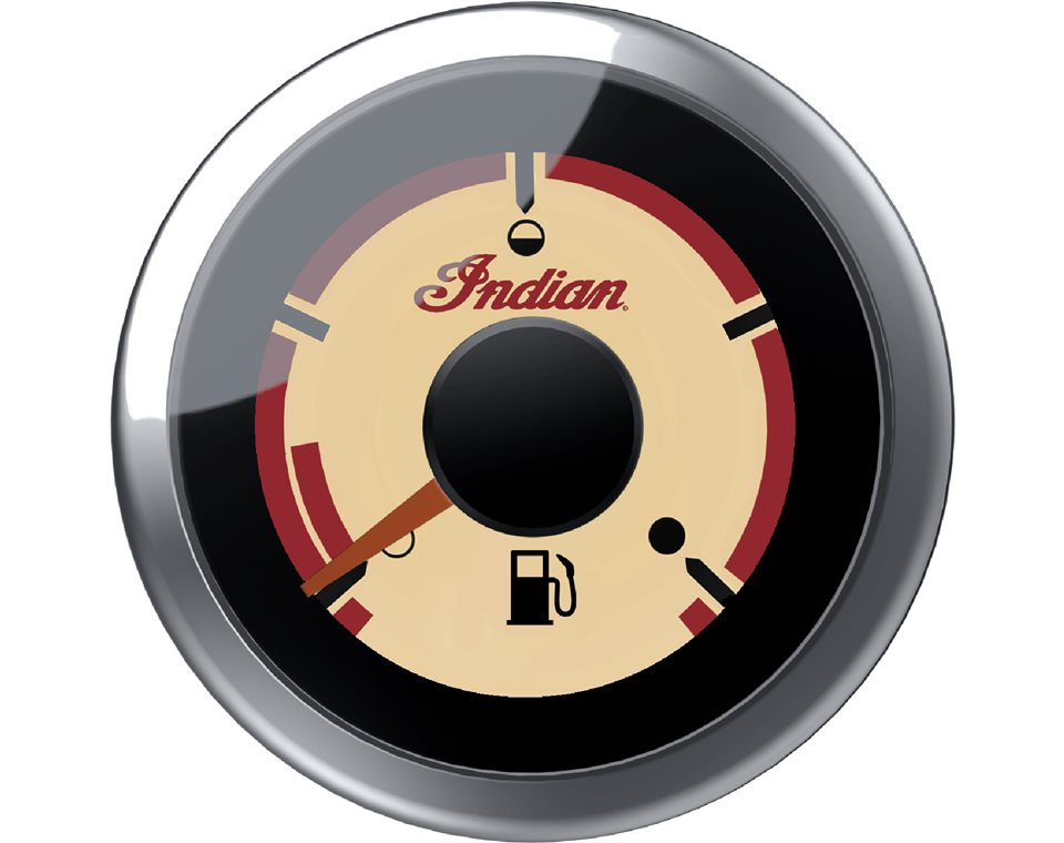 Beige Dial Face Fuel Gauge - Chrome