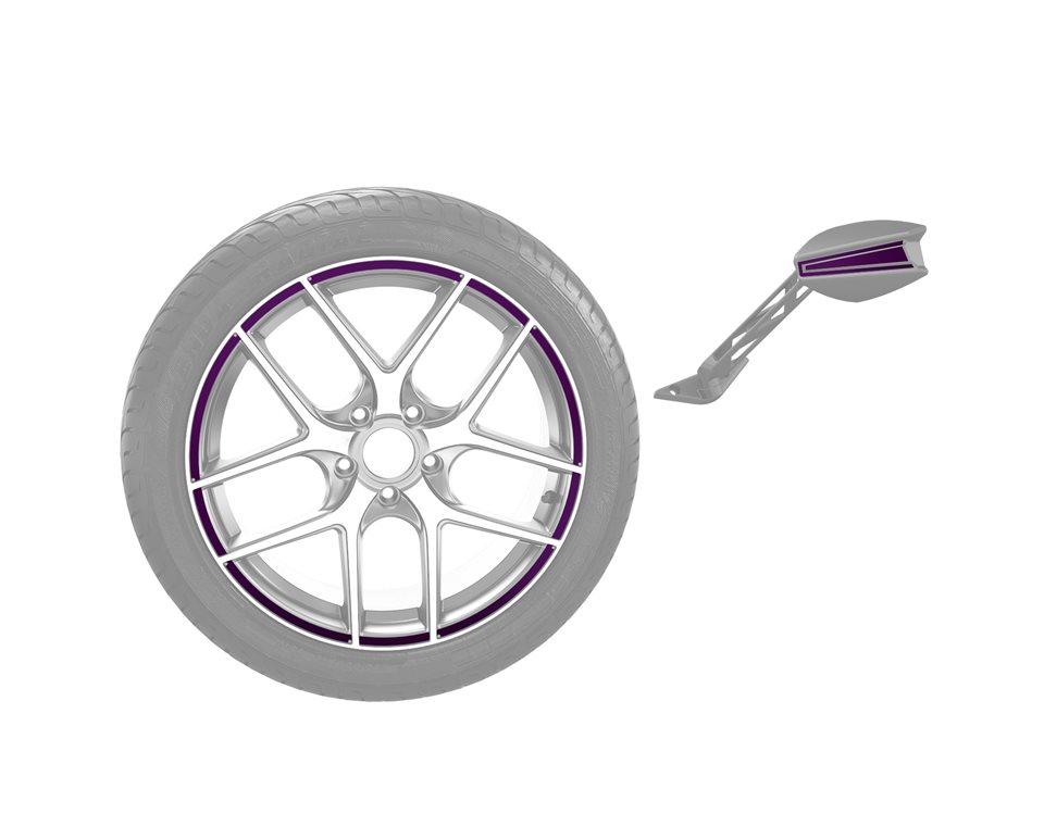 Rim & Mirror Decal Kit - Midnight Purple
