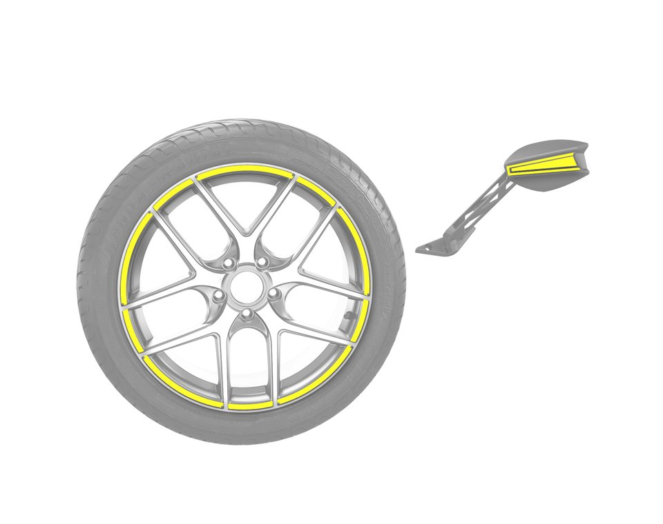 Rim & Mirror Decal Kit - Daytona Yellow