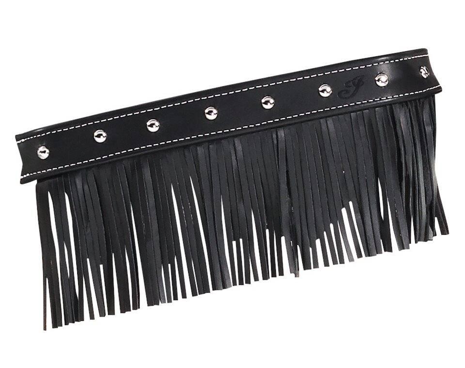 genuine leather floorboard trim with fringe black w studs