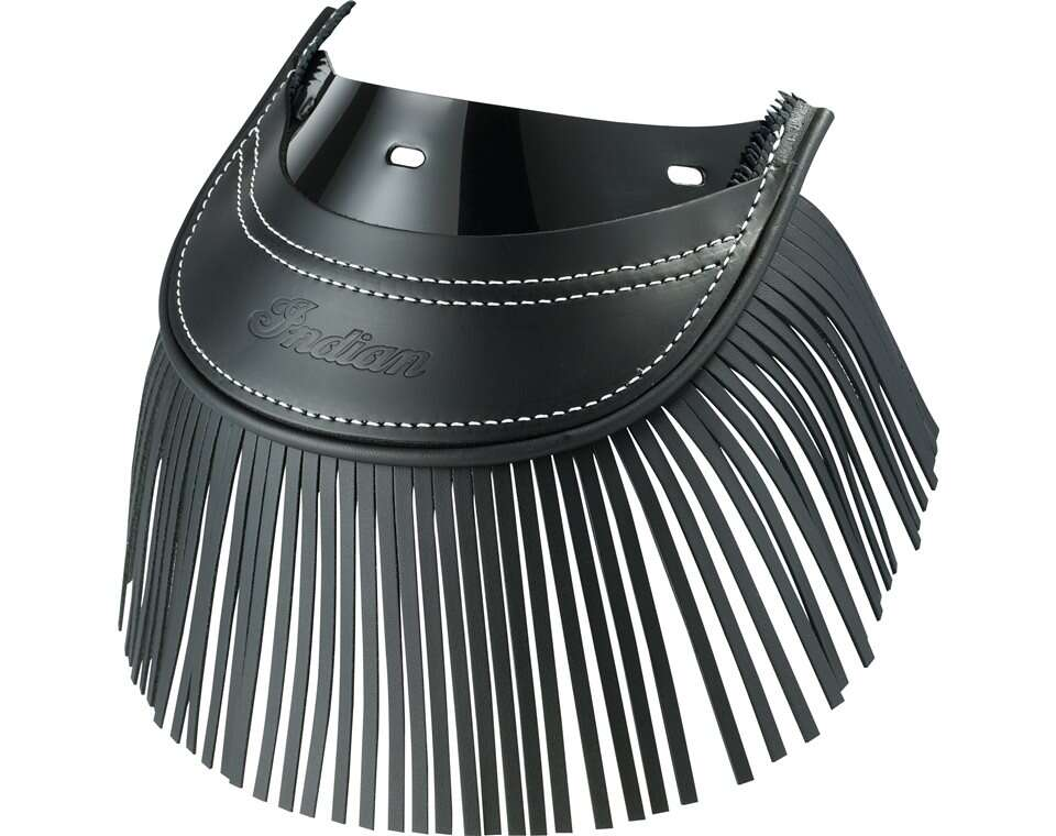 Genuine Leather Rear Mud Flap With Fringe - Black