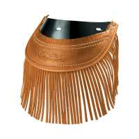 Genuine Leather Rear Motorcycle Mud Flap With Fringe- Desert Tan