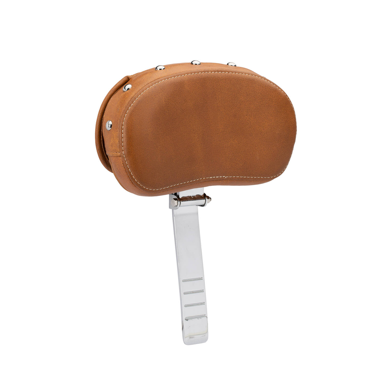 Genuine Leather Rider Backrest Pad - Desert Tan w/ Studs