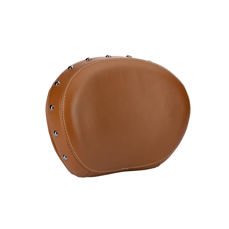 Genuine Leather Passenger Backrest Pad - Desert Tan With Studs
