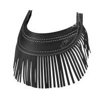 Genuine Leather Front Mud Flap With Fringe - Black