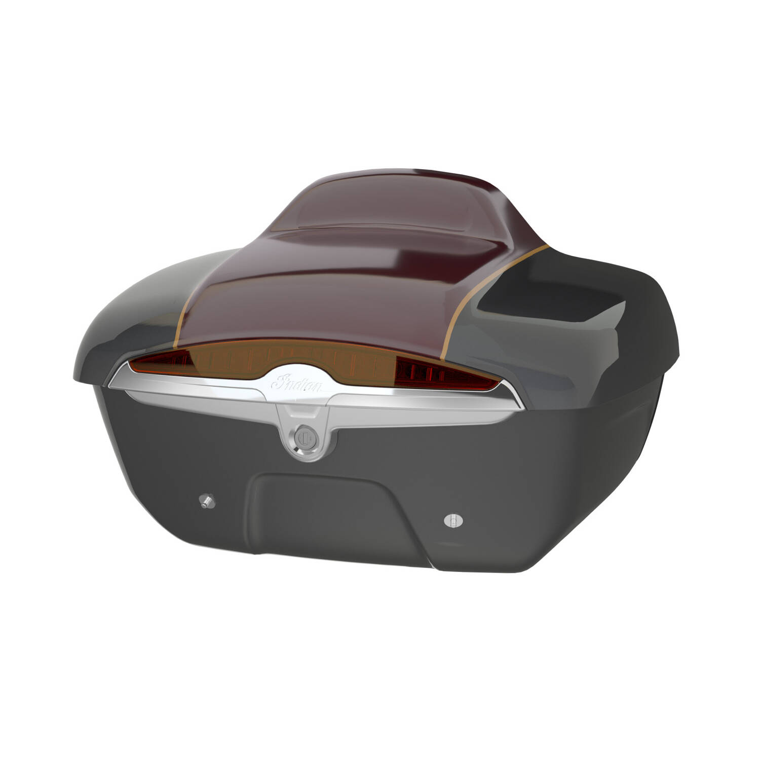 Quick-Release Lockable Trunk with Taillight, Steel Gray over Burgundy Metallic