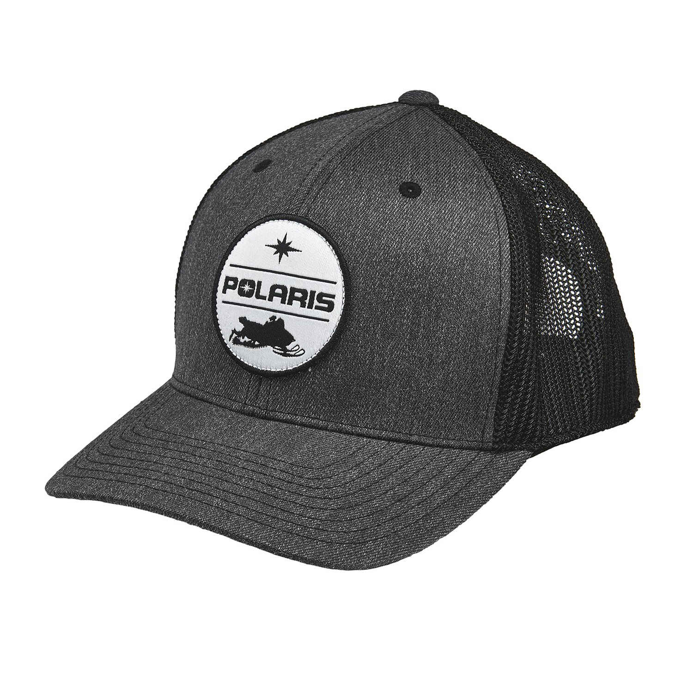Men's Adjustable Mesh Snapback Hat with Polaris® Snow Patch, Gray/Black