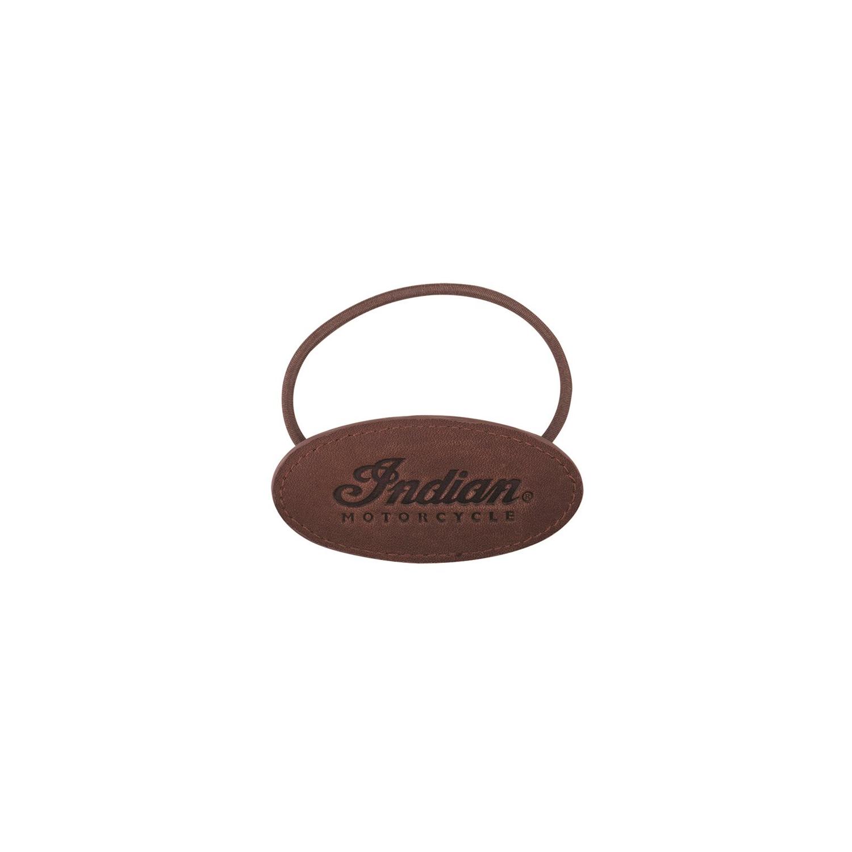 Script Leather Elastic Hair Tie, Brown