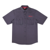 Men's Short-Sleeve Herringbone Button Down Pride Shirt, Gray - Image 1 of 2