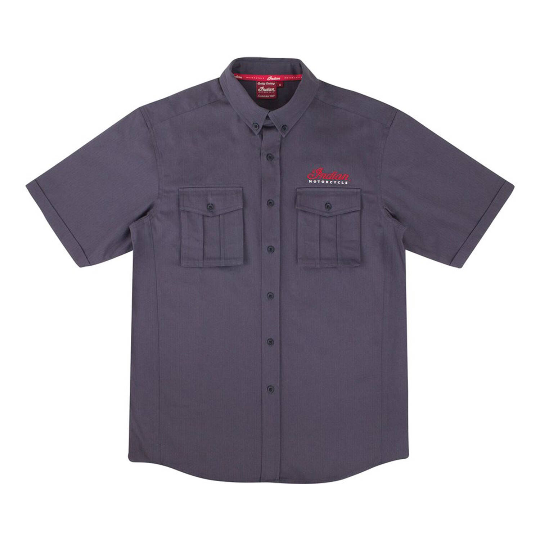Men's Short-Sleeve Herringbone Button Down Pride Shirt, Gray