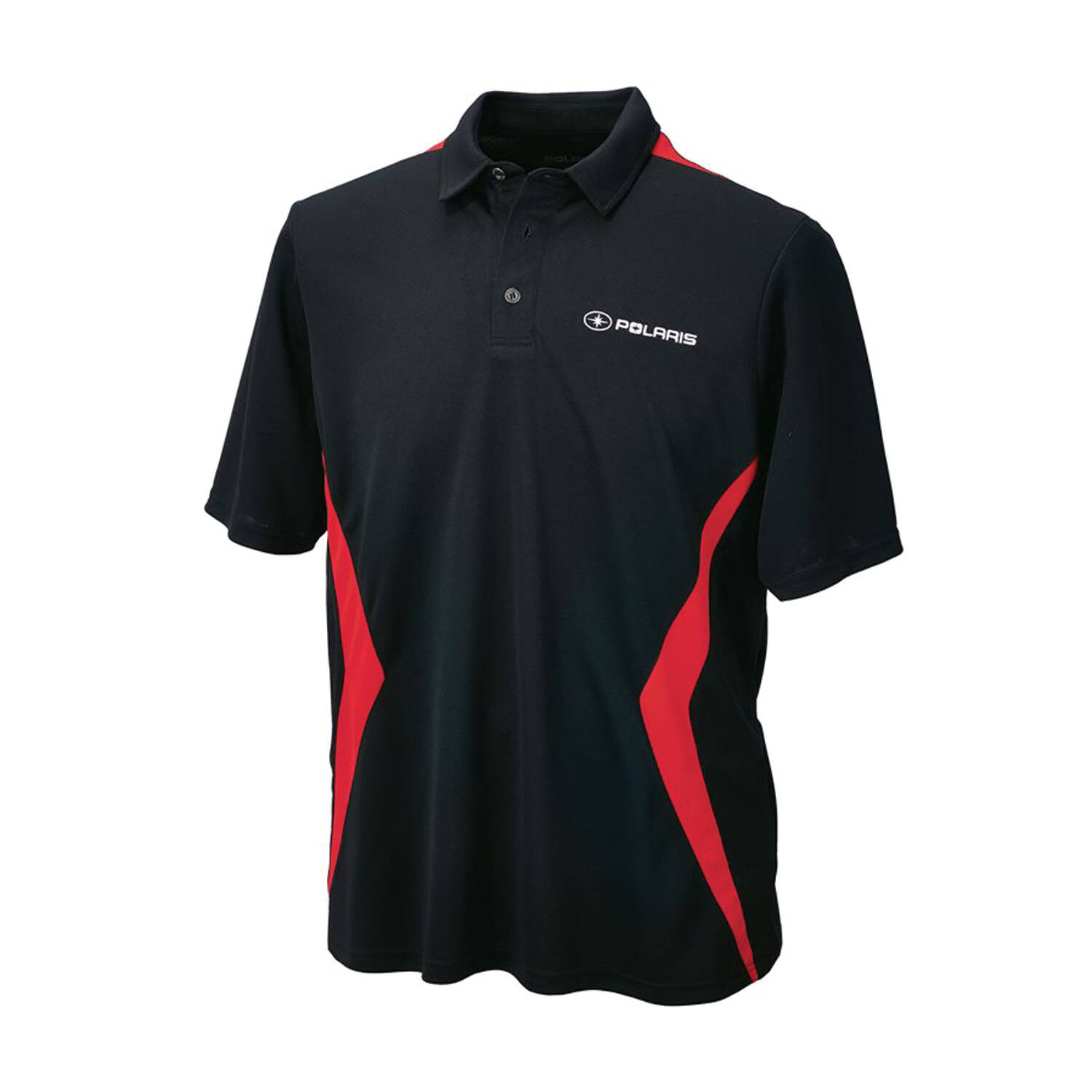 Men's Short-Sleeve Tech Polo with Logo, Black/Red