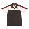 Men's Short-Sleeve Bowling Style Color Block Shirt, Black/White - Image 1 of 4