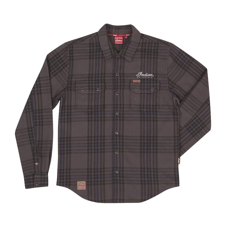 Men's Long-Sleeve Heavy Plaid Shirt, Gray